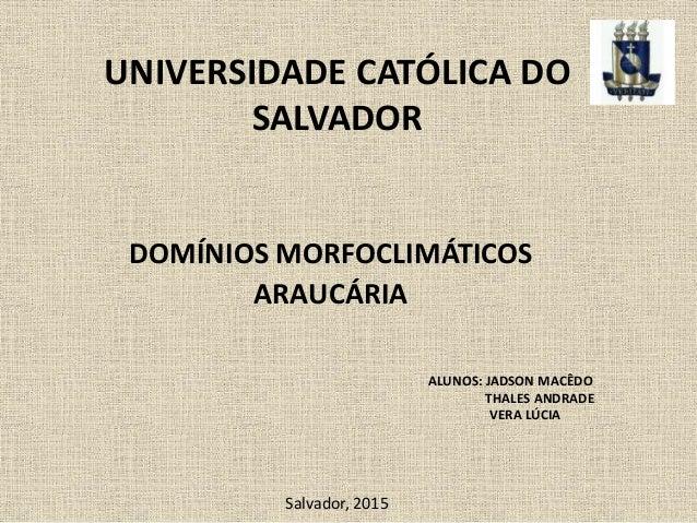UNIVERSIDADE CATÓLICA DO SALVADOR DOMÍNIOS MORFOCLIMÁTICOS ARAUCÁRIA ALUNOS: JADSON MACÊDO THALES ANDRADE VERA LÚCIA Salva...