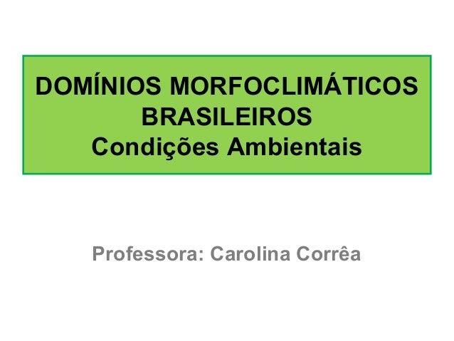 DOMÍNIOS MORFOCLIMÁTICOS BRASILEIROS Condições Ambientais Professora: Carolina Corrêa