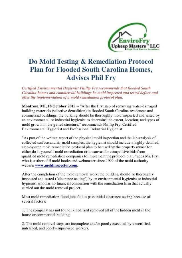 Do mold testing amp remediation protocol plan for flooded south car do mold testing remediation protocol plan for flooded south carolina homes advises phil fry solutioingenieria Choice Image