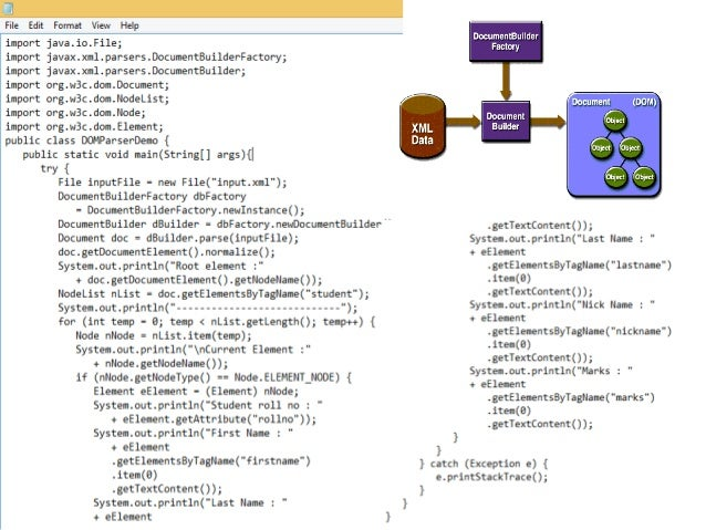 SAX • Reads an XML document from top to bottom, recognizing the tokens that make up a well-formed XML document • Tokens ar...