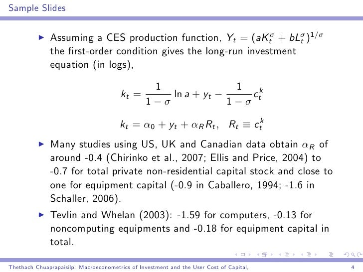 Macroeconometrics Of Investment And The User Cost Of