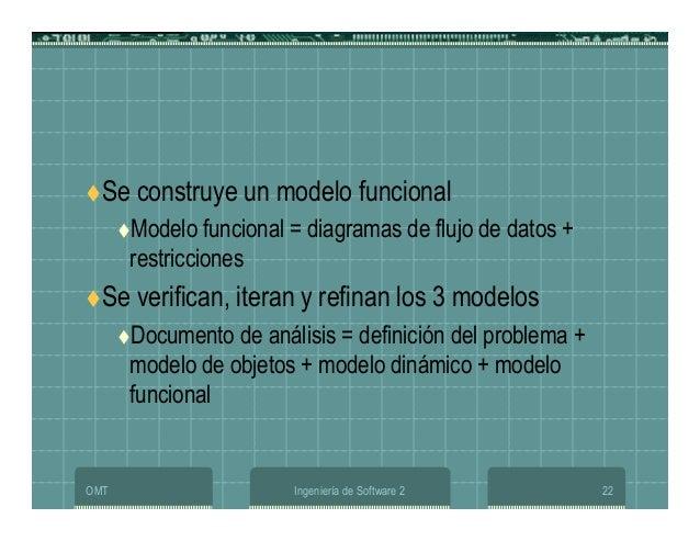 OMT Ingeniería de Software 2 22 Se construye un modelo funcional Modelo funcional = diagramas de flujo de datos + restricc...