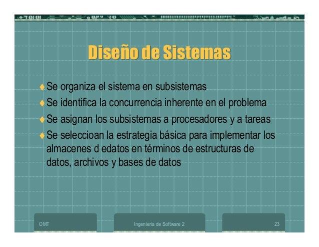 OMT Ingeniería de Software 2 23 Diseño de SistemasDiseño de Sistemas Se organiza el sistema en subsistemas Se identifica l...