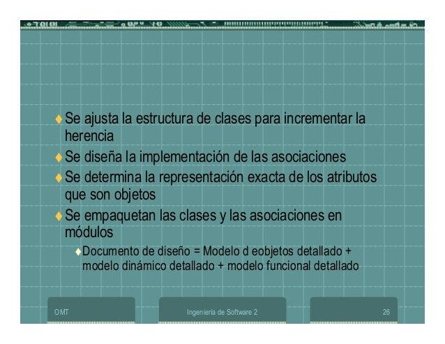 OMT Ingeniería de Software 2 26 Se ajusta la estructura de clases para incrementar la herencia Se diseña la implementación...