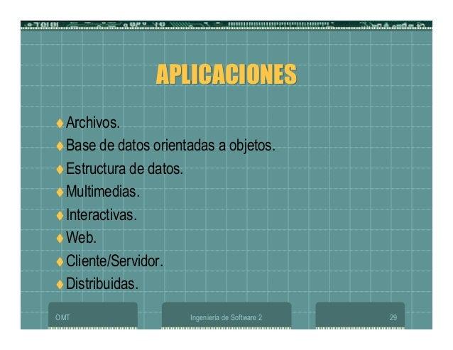 OMT Ingeniería de Software 2 29 APLICACIONESAPLICACIONES Archivos. Base de datos orientadas a objetos. Estructura de datos...