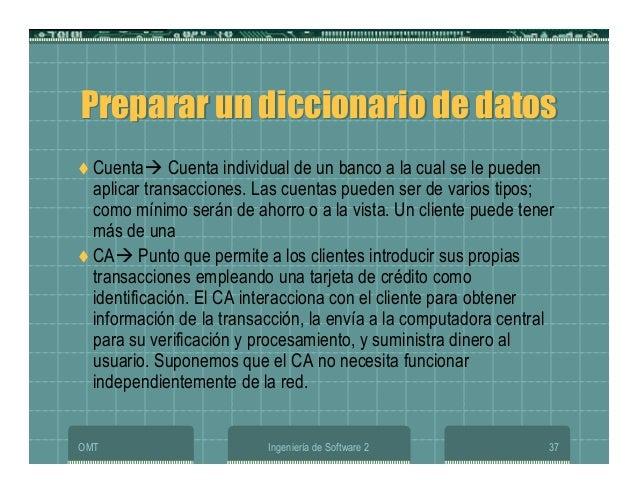 OMT Ingeniería de Software 2 37 Preparar un diccionario de datosPreparar un diccionario de datos Cuenta Cuenta individual ...