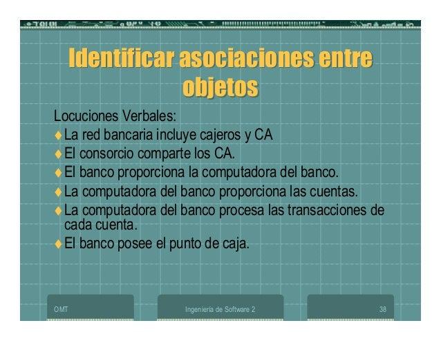 OMT Ingeniería de Software 2 38 Identificar asociaciones entre objetos Identificar asociaciones entre objetos Locuciones V...