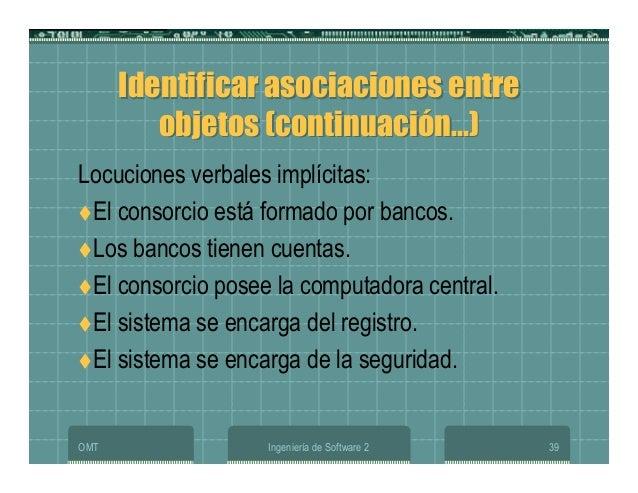 OMT Ingeniería de Software 2 39 Identificar asociaciones entre objetos (continuación...) Identificar asociaciones entre ob...