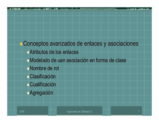 OMT Ingeniería de Software 2 7 Conceptos avanzados de enlaces y asociaciones Atributos de los enlaces Modelado de uan asoc...