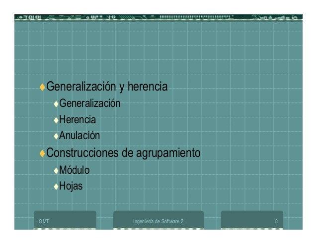 OMT Ingeniería de Software 2 8 Generalización y herencia Generalización Herencia Anulacíón Construcciones de agrupamiento ...