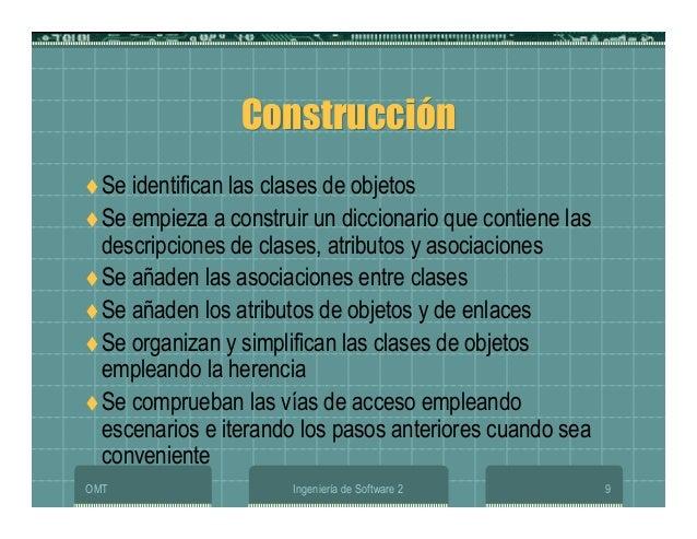 OMT Ingeniería de Software 2 9 ConstrucciónConstrucción Se identifican las clases de objetos Se empieza a construir un dic...