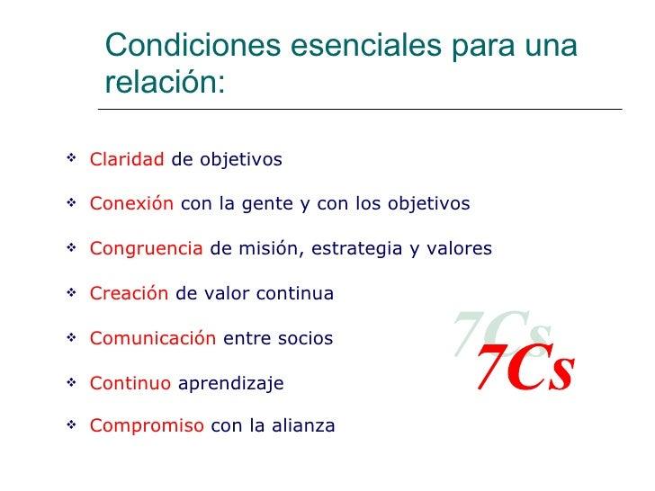 Condiciones esenciales para una  relación: <ul><li>Claridad  de objetivos </li></ul><ul><li>Conexión  con la gente y con l...