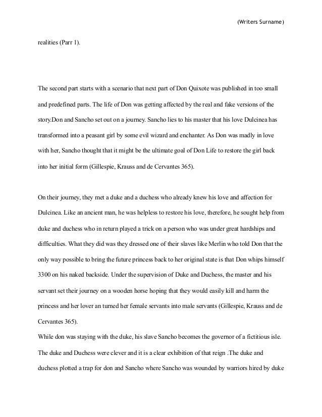 Don quixote essay