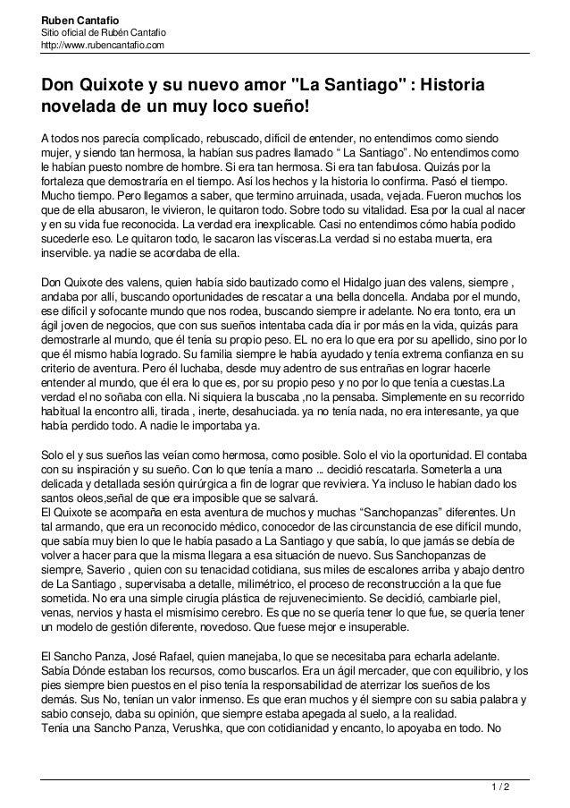 """Ruben Cantafio Sitio oficial de Rubén Cantafio http://www.rubencantafio.com Don Quixote y su nuevo amor """"La Santiago"""" : Hi..."""