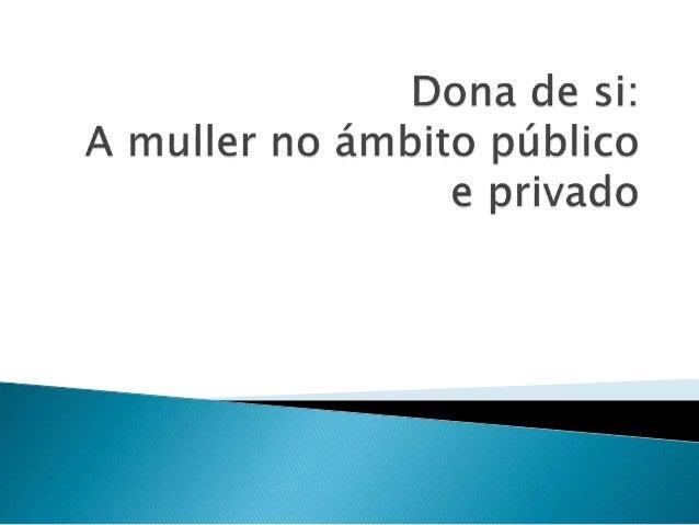  A muller no ámbito privado  A mujer en el ámbito público  A muller no ámbito público e privado en España  A muller no...
