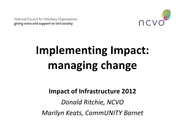 Implementing Impact:  managing change  Impact of Infrastructure 2012       Donald Ritchie, NCVO Marilyn Keats, CommUNITY B...