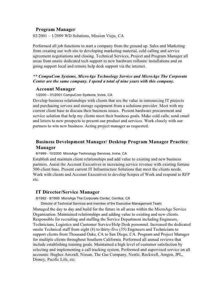 professional experience 3 program manager