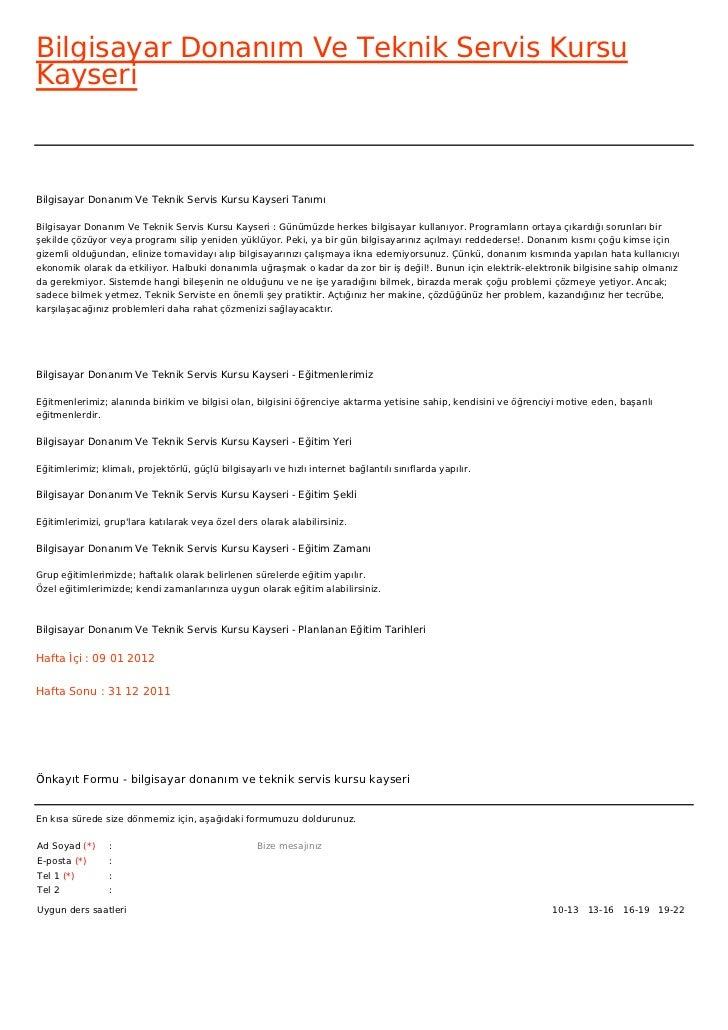 Bilgisayar Donanım Ve Teknik Servis KursuKayseriBilgisayar Donanım Ve Teknik Servis Kursu Kayseri TanımıBilgisayar Donanım...