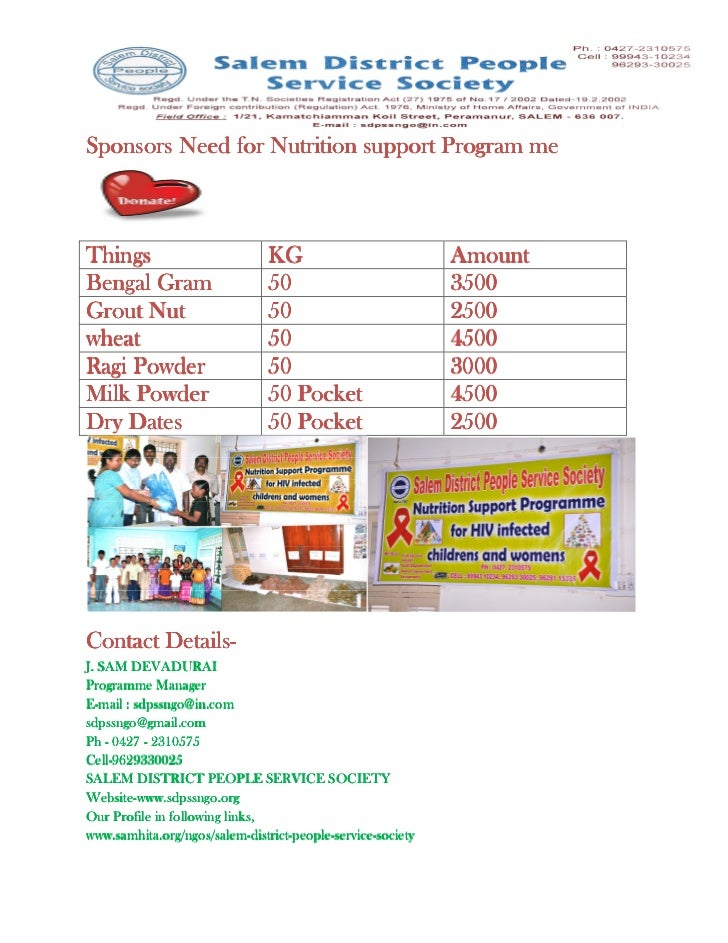 Sponsors Need for Nutrition support Program meThings                          KG                           AmountBengal Gr...