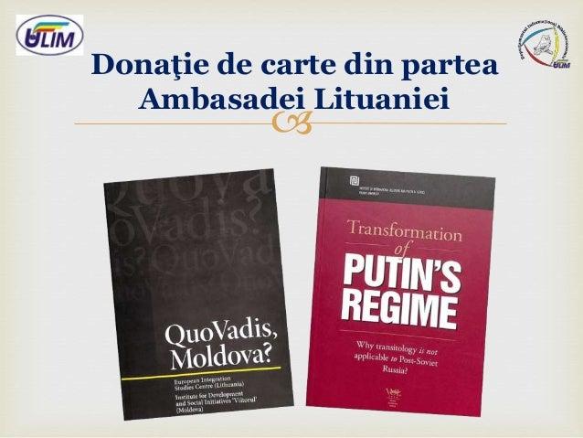  Donaţie de carte din partea Ambasadei Lituaniei