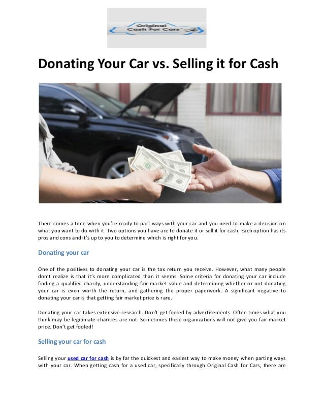 Donating Your Car vs. Selling it for Cash