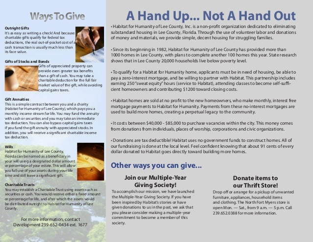 Habitat For Humanity Donation Brochure 2009. Ways To Give A Hand ...