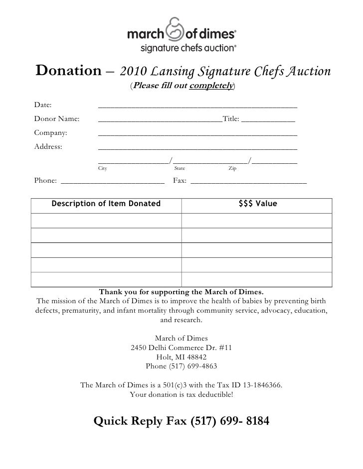 ChefS Auction  Donation Form