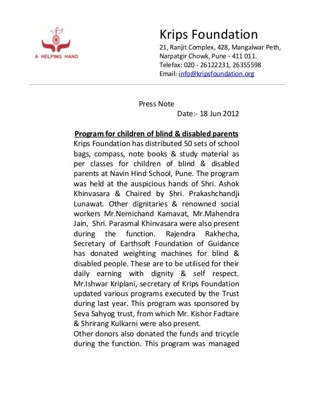 Krips Foundation21, Ranjit Complex, 428, Mangalwar Peth,Narpatgir Chowk, Pune - 411 011.Telefax: 020 - 26122231, 26355598E...