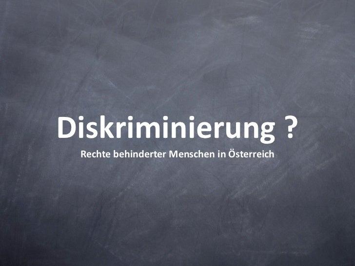Werbehindert? RechtebehinderterMenscheninÖsterreich