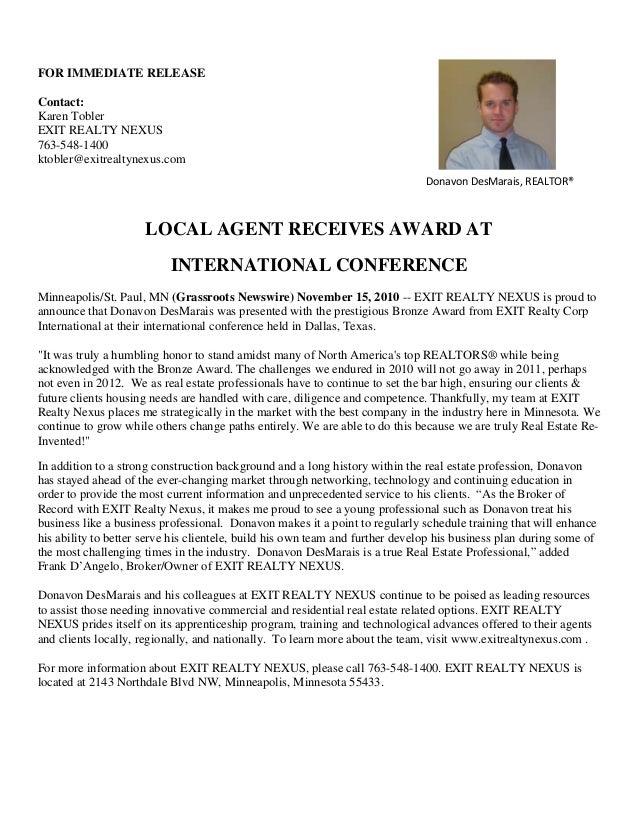 FOR IMMEDIATE RELEASE Contact: Karen Tobler EXIT REALTY NEXUS 763-548-1400 ktobler@exitrealtynexus.com LOCAL AGENT RECEIVE...