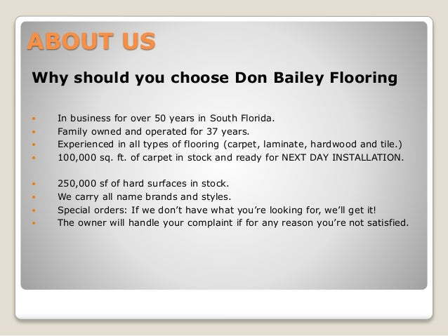 Welcome To Don Bailey Flooring; 2.