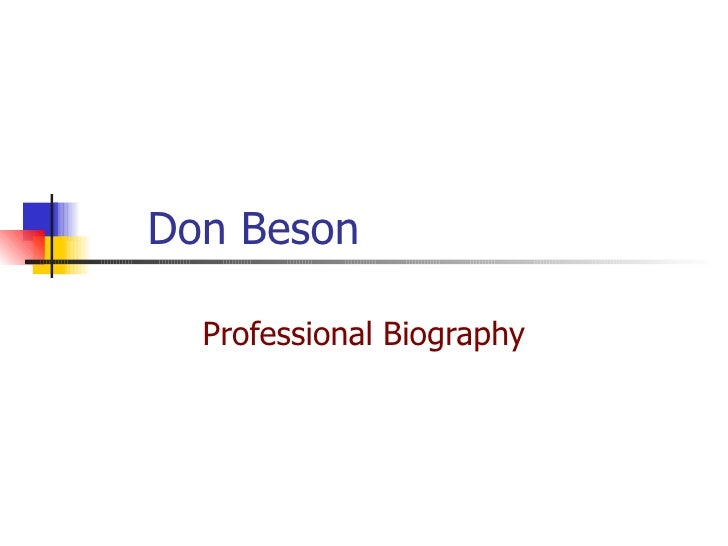 Don Beson Professional Biography