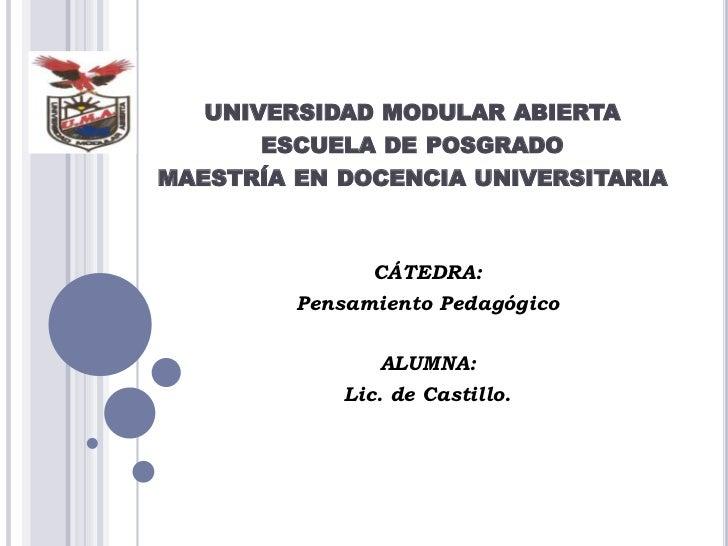 UNIVERSIDAD MODULAR ABIERTA      ESCUELA DE POSGRADOMAESTRÍA EN DOCENCIA UNIVERSITARIA               CÁTEDRA:         Pens...