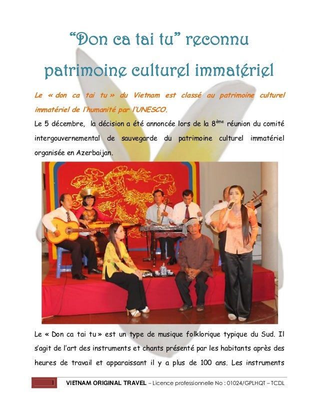 """Don ca tai tu"" reconnu patrimoine culturel immatériel Le « don ca tai tu » du Vietnam est classé au patrimoine culturel i..."