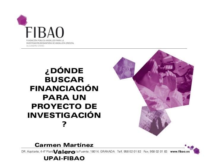 ¿DÓNDE        BUSCAR     FINANCIACIÓN        PARA UN     PROYECTO DE    INVESTIGACIÓN           ?          Carmen Martínez...