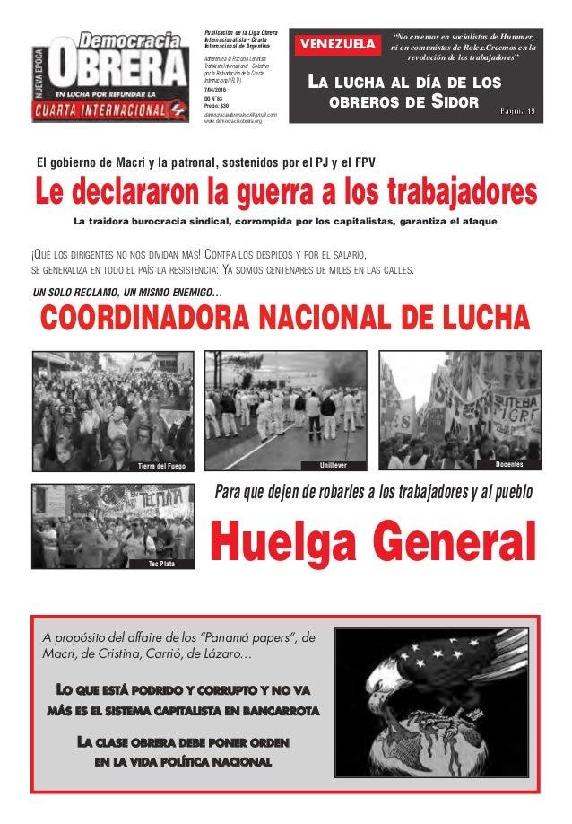 COORDINADORA NACIONAL DE LUCHA Publicación de la Liga Obrera Internacionalista - Cuarta Internacional de Argentina Adheren...