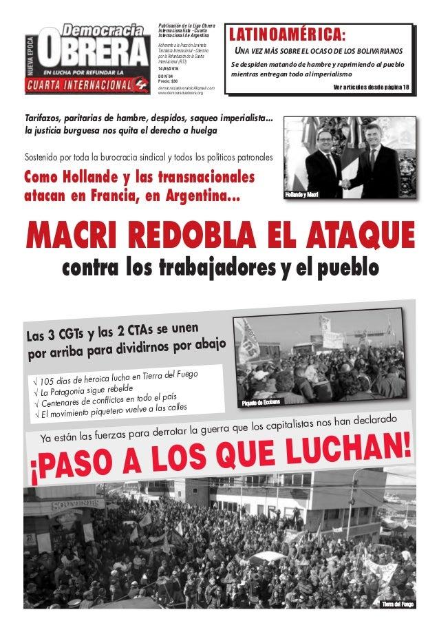 Publicación de la Liga Obrera Internacionalista - Cuarta Internacional de Argentina Adherente a la Fracción Leninista Trot...