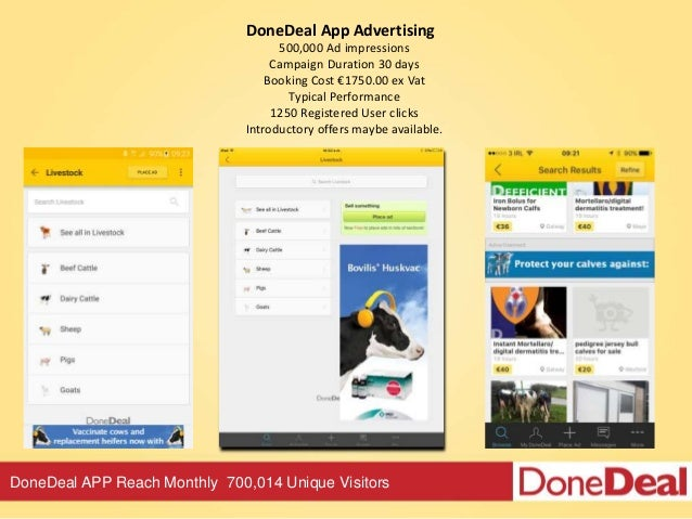 DoneDeal APP Reach Monthly 700,014 Unique Visitors DoneDeal App Advertising 500,000 Ad impressions Campaign Duration 30 da...