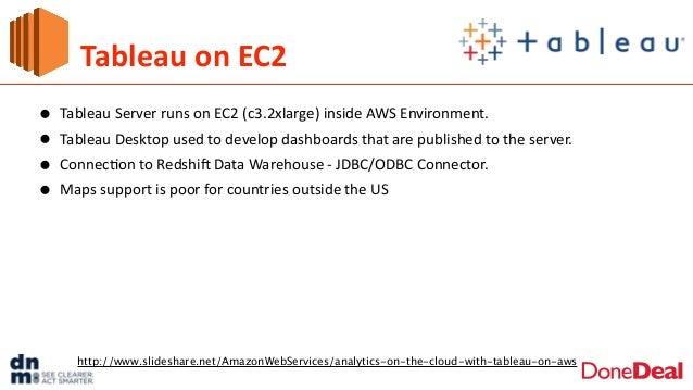 Tableau  on  EC2 • Tableau  Server  runs  on  EC2  (c3.2xlarge)  inside  AWS  Environment.     • T...