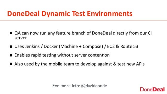 DoneDeal  Dynamic  Test  Environments •QA  can  now  run  any  feature  branch  of  DoneDeal  dire...