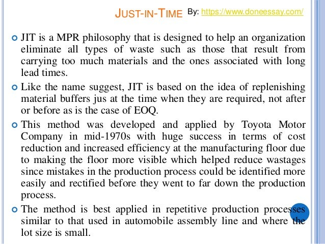 eoq and jit paper Just-in-time manufacturing system: from introduction to implement  jit allows a reduction in raw material, work-in-process and finished goods inventories.