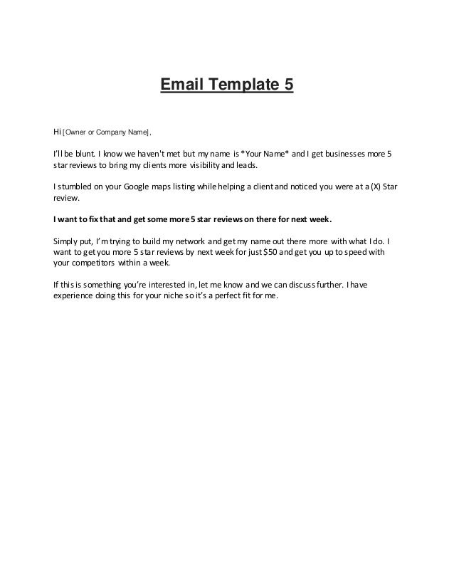 email listing template