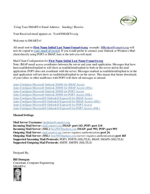 Using Your SMARTvt Email Address: Sending / Receive Your Received email appears as: You@SMARTvt.org Welcome to SMARTvt! Al...