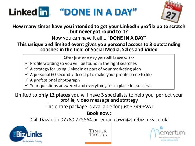 """DONE IN A DAY"" How many times have you intended to get your LinkedIn profile up to scratch but never got round to it? Now..."