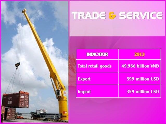 INDICATOR 2013 Total retail goods 49,966 billion VNĐ Export 599 million USD Import 359 million USD TRADE & SERVICE