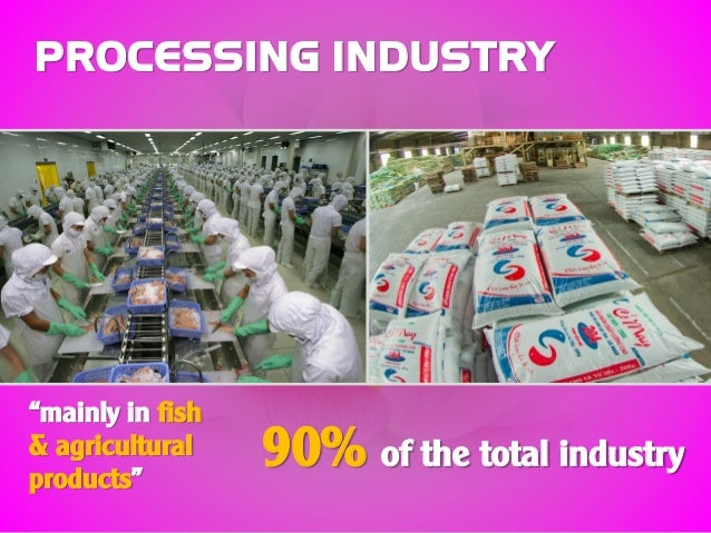 """PROCESSING INDUSTRY """"mainly in fish & agricultural products"""" 90% of the total industry"""