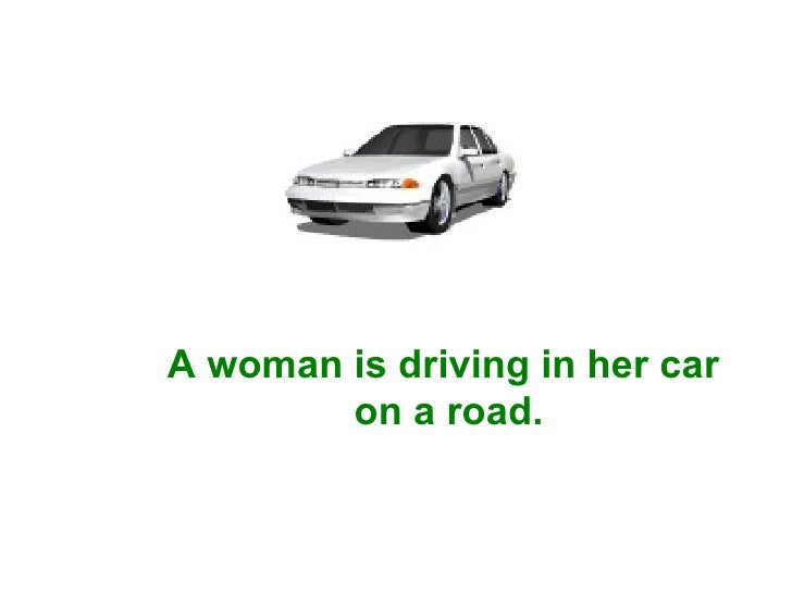 A woman is driving in her car  on a road.