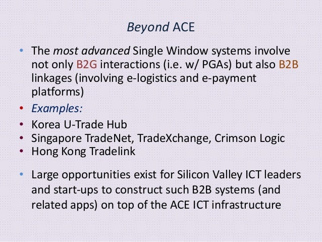 Beyond ACE • Interoperability/integration of ALL national Single Windows globally • Major current focus of IGOs: Draft UN/...