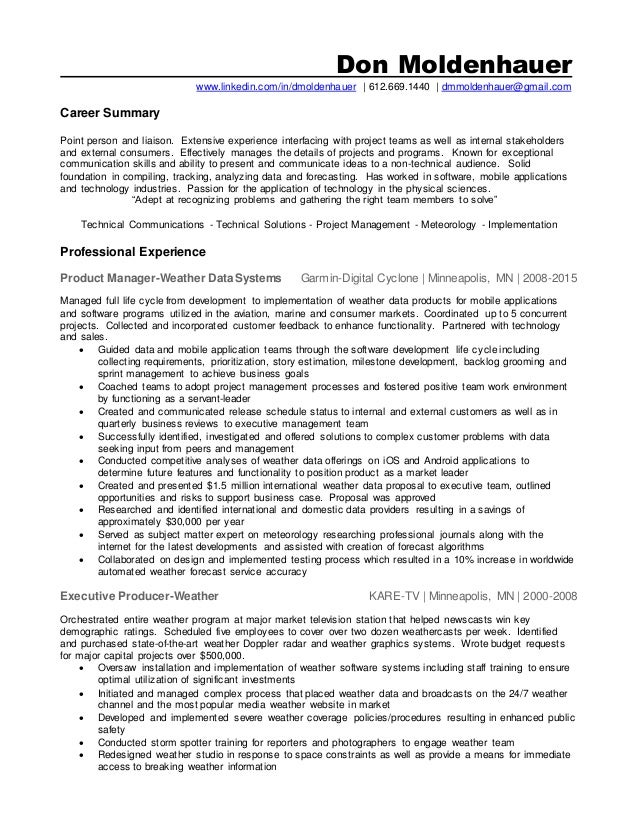 don moldenhauer wwwlinkedincomindmoldenhauer 6126691440 weather producer meteorologist - Meteorologist Resume