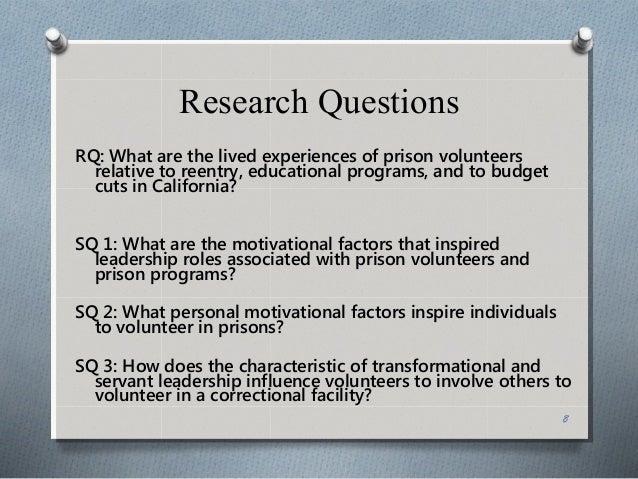 a qualitative phenomenological study on prison volunteers
